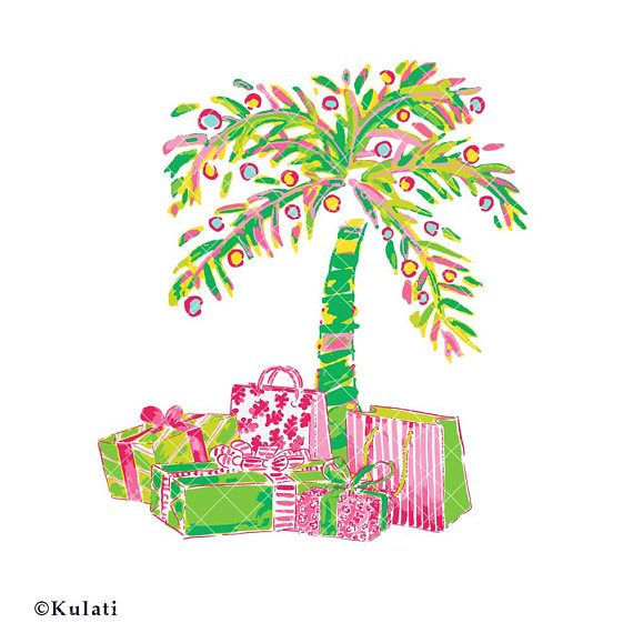 INSTANT DOWNLOAD Preppy Christmas Palm Tree With Presents