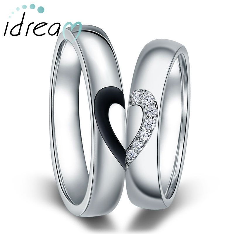 black white couple heart wedding rings matching. Black Bedroom Furniture Sets. Home Design Ideas