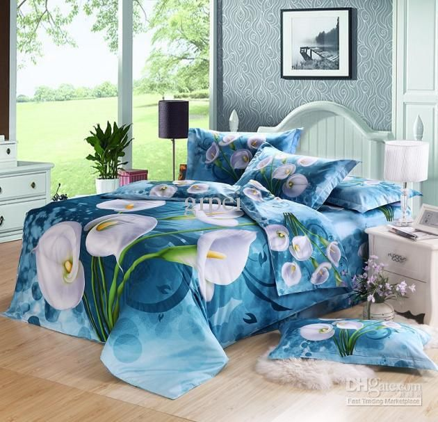 3d Blue Floral Flower Comforter Bedding Set Queen Size Duvet Cover