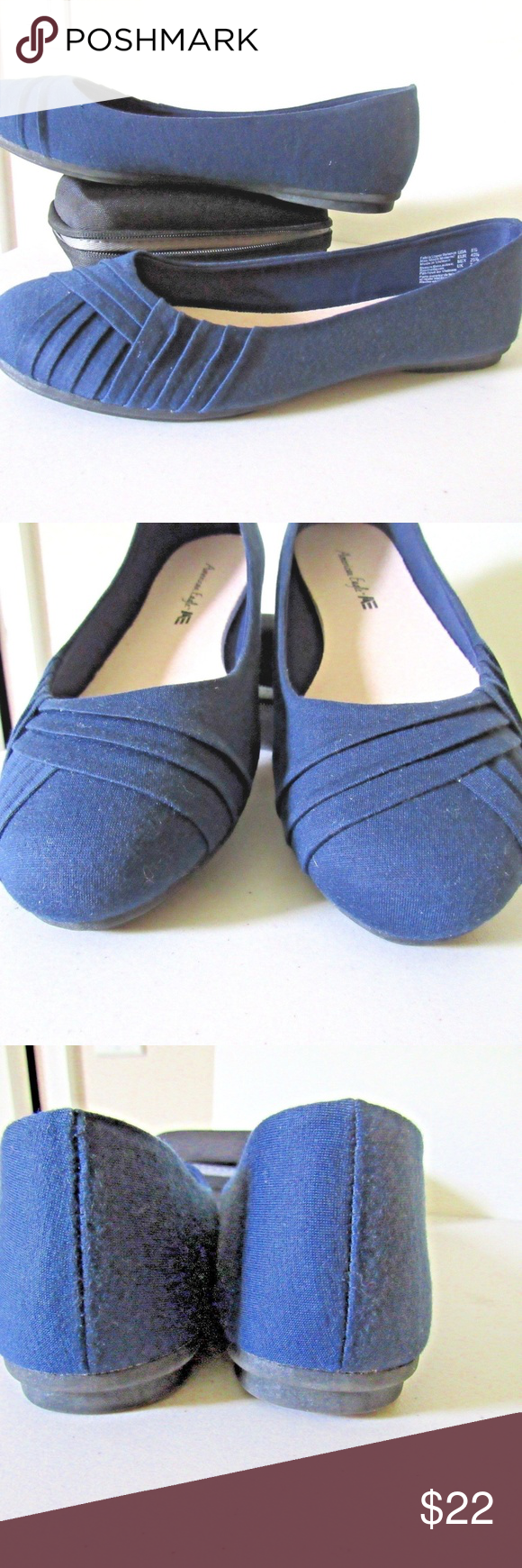 e9733490b388e American Eagle Navy-Blue-Casual-Flats-Shoes size 8 1/2 Med. width pleated  toe American Eagle Shoes Flats & Loafers