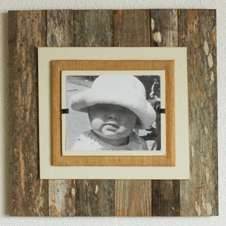 Reclaimed Wood & Burlap Frames - Natural | Barn Wood Projects ...