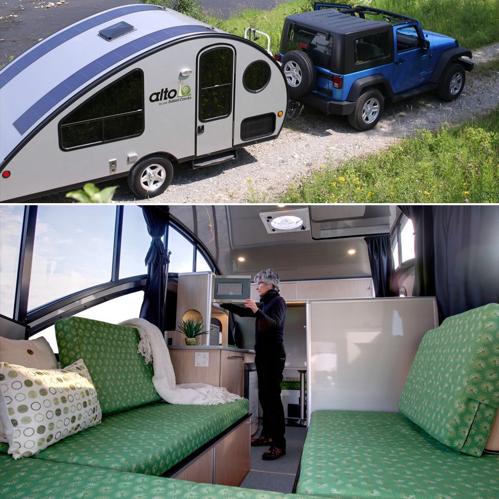 Travel Trailers With Outdoor Kitchens: Aerodynamic Travel Trailer With A Retractable Roof- At 83