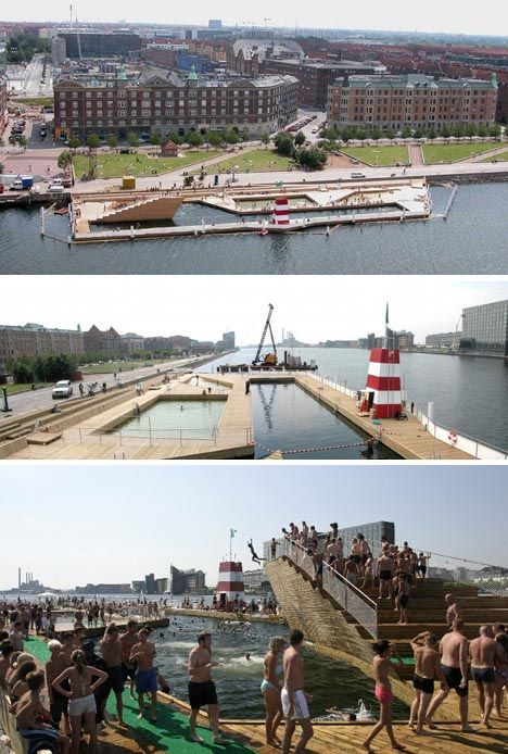 The Copenhagen Harbor Bath abstractly resembles a sunken ship and is likewise more a framework for fun than a structural necessity, defining space within the clean city harbor and creating places for shallow and deep swimming as well as diving.