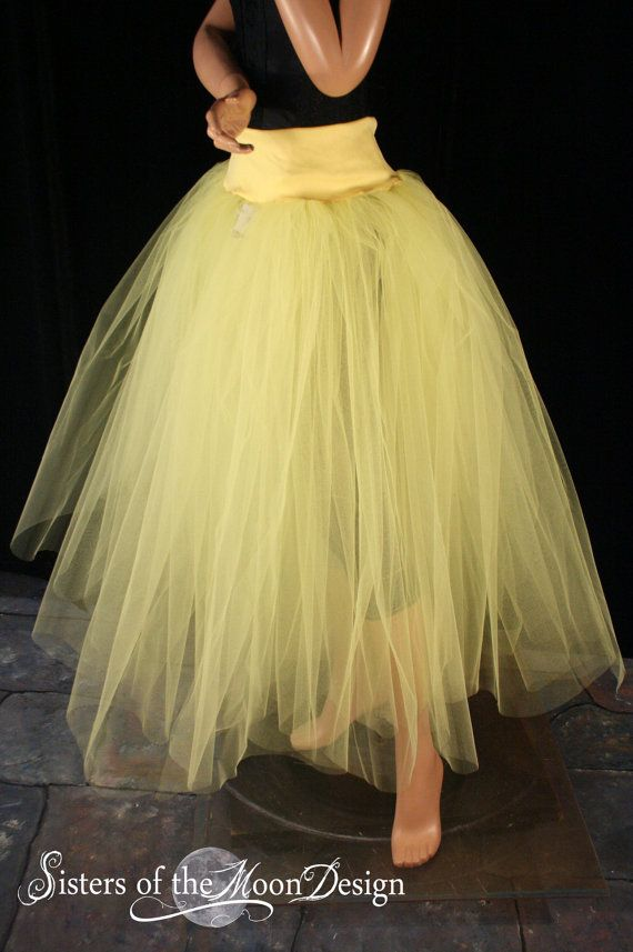 1a96269c22e Adult tutu skirt long yellow puffy petticoat two layer dance formal wedding  bridal prom gypsy - You Choose Size - Sisters of the Moon