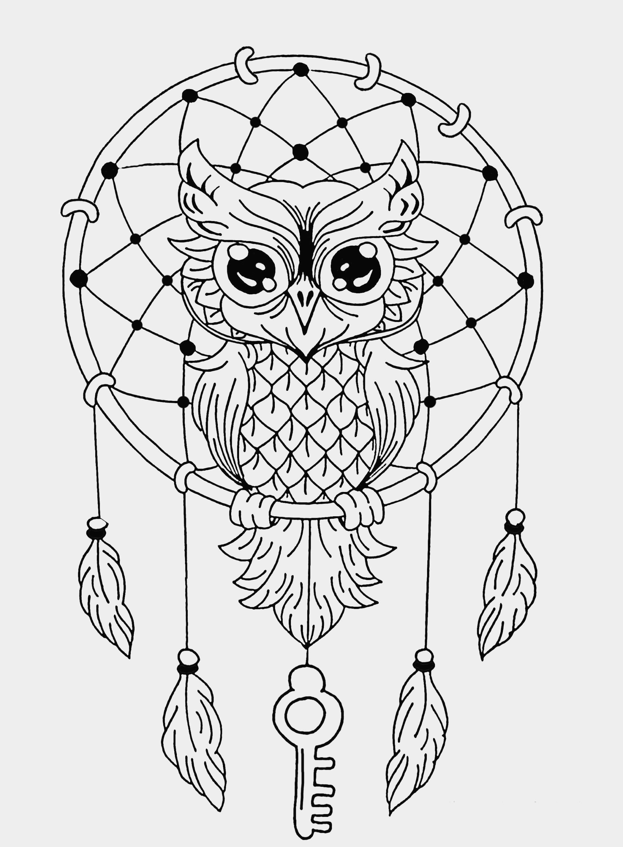 Animal Mandala Coloring Pages Easy Inspirational Mandala Easy Dreamcatcher Owl Of Animal Owl Coloring Pages Animal Coloring Pages Dream Catcher Coloring Pages