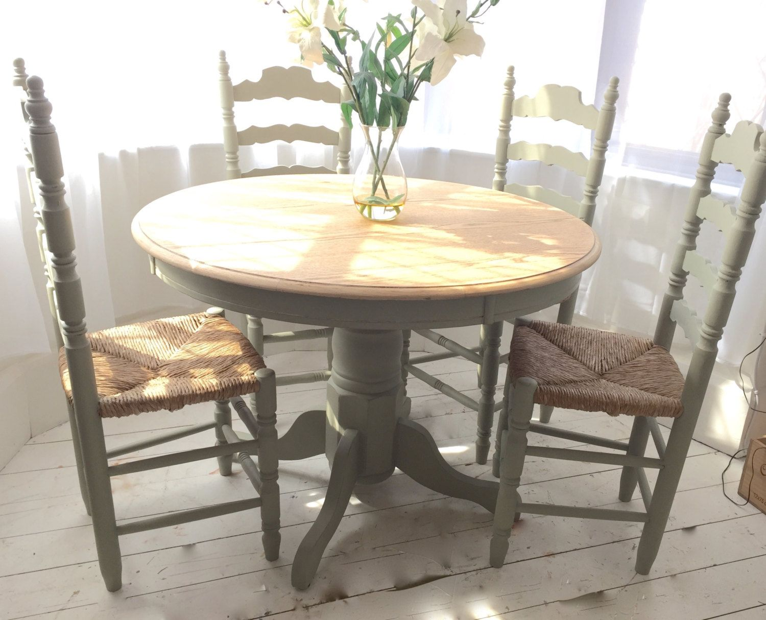 Sage Green French Country Oak Dining Set With Vintage Rush Seat Chairs By BeautifulPigInterior On Etsy