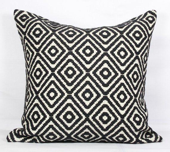Throw pillows black and white, 26x26 pillow cover black, euro shams ...
