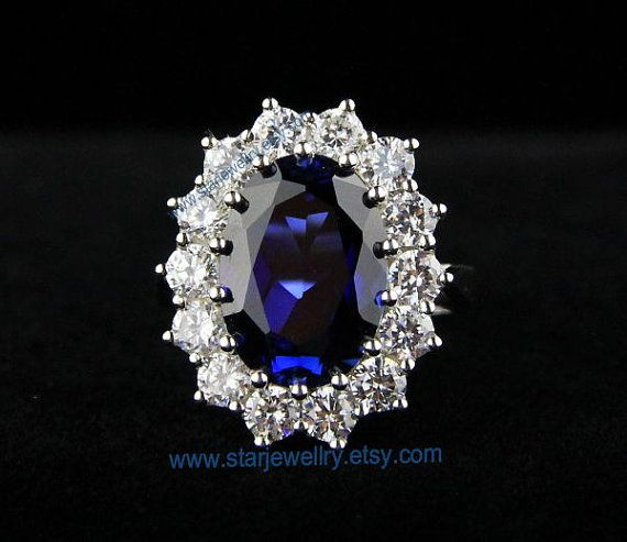 Very Beautiful Engagement Ring Wedding Ring Princess Kate Wedding Ring  925sterling With Blue Gem