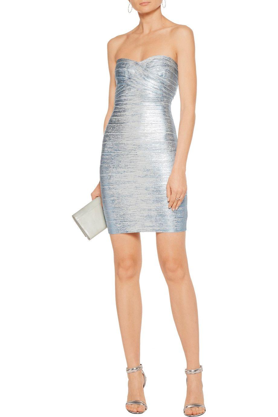 7638240decf17 Shop on-sale Hervé Léger Nazik metallic coated-bandage mini dress. Browse  other discount designer Dresses   more on The Most Fashionable Fashion  Outlet