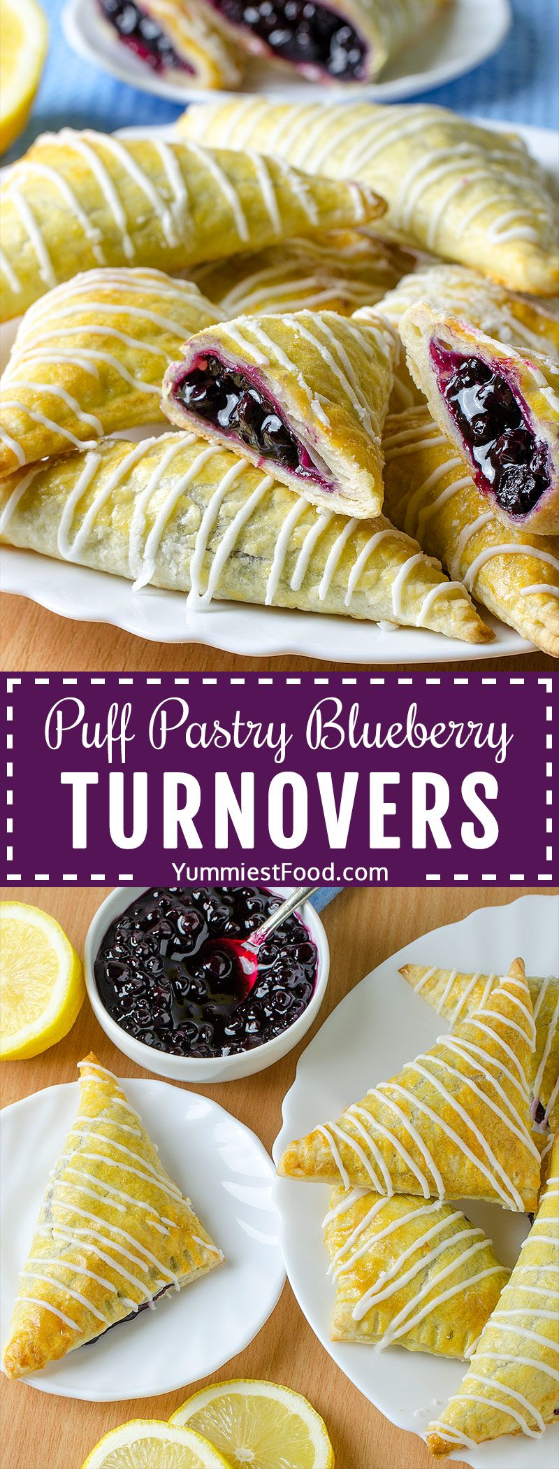 Easy Puff Pastry Blueberry Turnovers is part of Easy puff pastry - EASY PUFF PASTRY BLUEBERRY TURNOVERS   These Puff Pastry Blueberry Turnovers are light, flaky, filled with blueberry filling then drizzled with lemon glaze  A perfect crispy treat for breakfast or dessert!