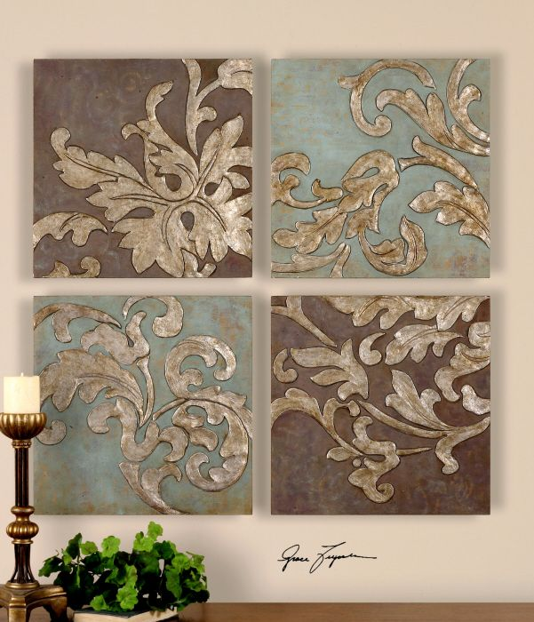 Damask Relief Blocks Wall Plaques Hand Painted Oils Premier Home Decor
