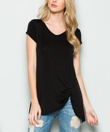 1e5508b947b2 Look what I found on  zulily! Black Twist-Hem Top by Acting Pro  zulilyfinds