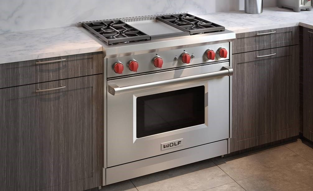 36 Gas Range 4 Burners And Infrared Griddle Gas Range Stove