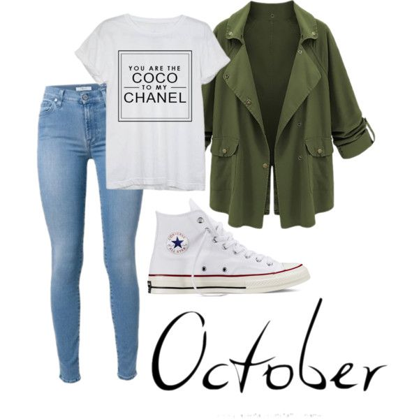 October Bae by clopieab on Polyvore featuring polyvore, fashion, style, Chanel and Converse