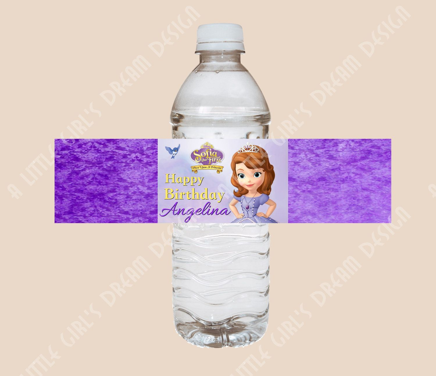 Sofia the First NEW DISNEY PRINCESS Water Bottle Label Birthday Party Custom. $5.00, via Etsy.