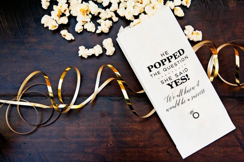 He Popped the Question Popcorn Bridal Favor Bags She Said Yes Bags Bridal Shower Popcorn Favor Bags