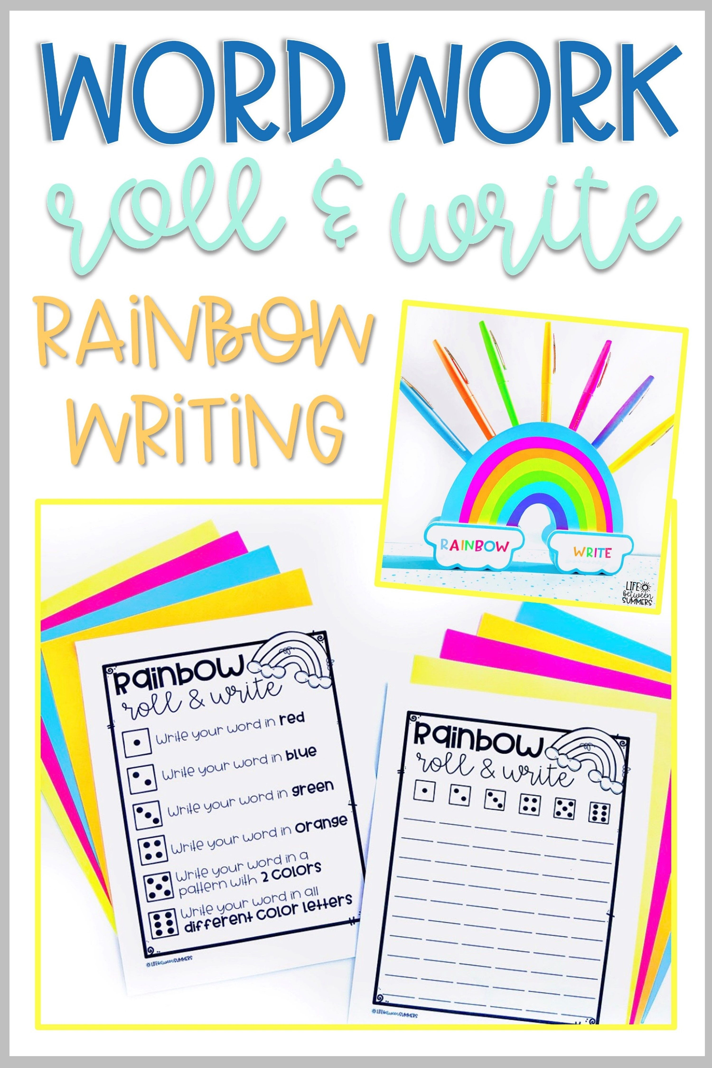 Editable Dice Games For Word Work Centers Rainbow Writing