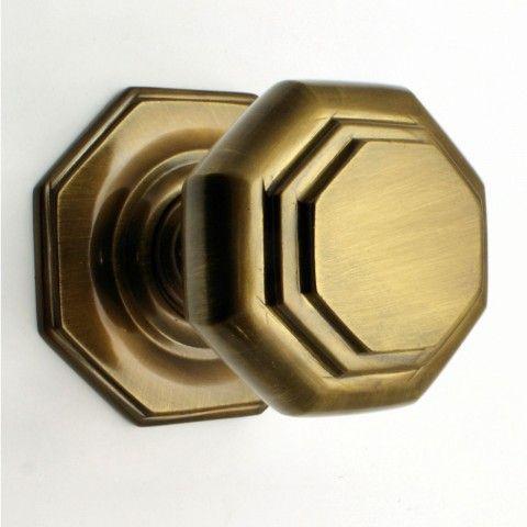 Octagonal Shape Centre Door Knob Antique Brass Door knobs