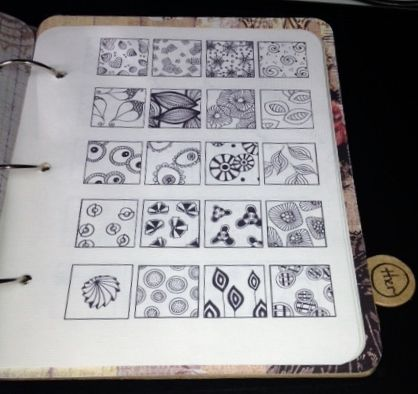 I found someone who had organized all these Zentangle patterns and she offered them for free. I put them in a book for easy reference!