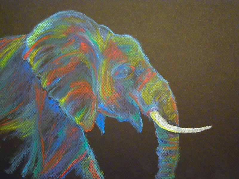 Elephant No. 318: Soft Pastels (African Elephant in ...