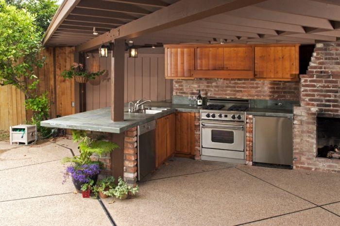außenküche selber bauen ziegelsteine wand holzschränke kamin ...