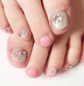 28 trendy bruiloft nagels tenen pedicure roze nagel ontwerp glitter #nagels -… 28 trendy br…