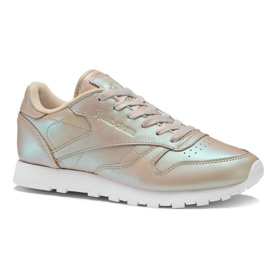 White Reebok Classic Leather Pearlized Trainers Online