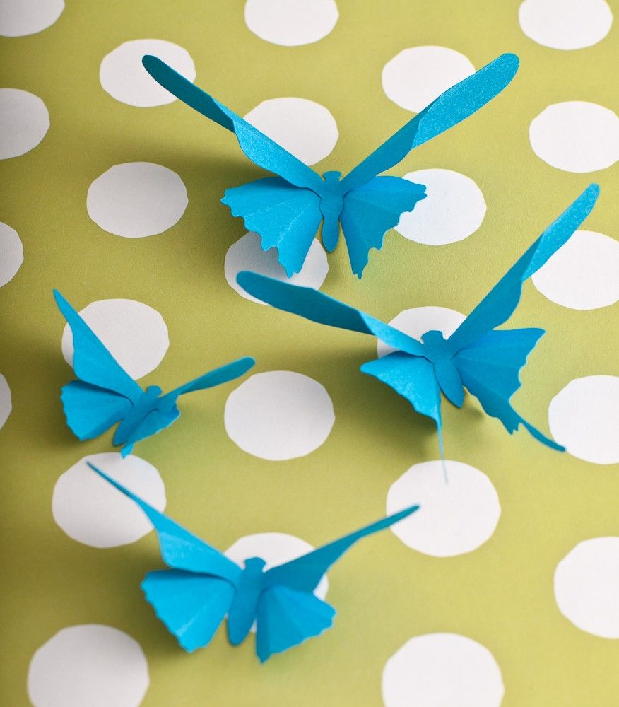 3D Wall Butterflies, 20 Turquoise Blue Butterfly Silhouettes for ...