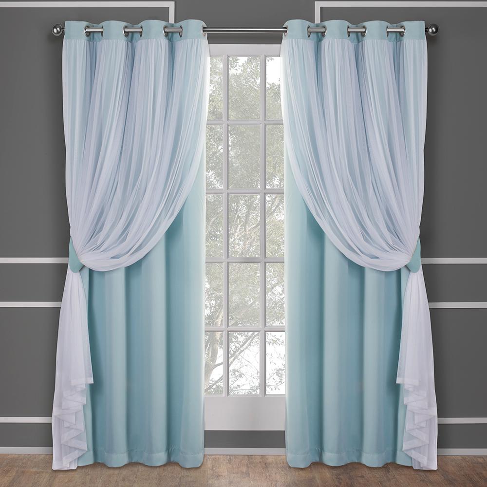 Amalgamated Textiles Catarina Aqua Blue Layered Solid Blackout And Sheer Grommet Top Window Curtain Decoracao De Cortinas Cortinas Para Quarto Cortinas