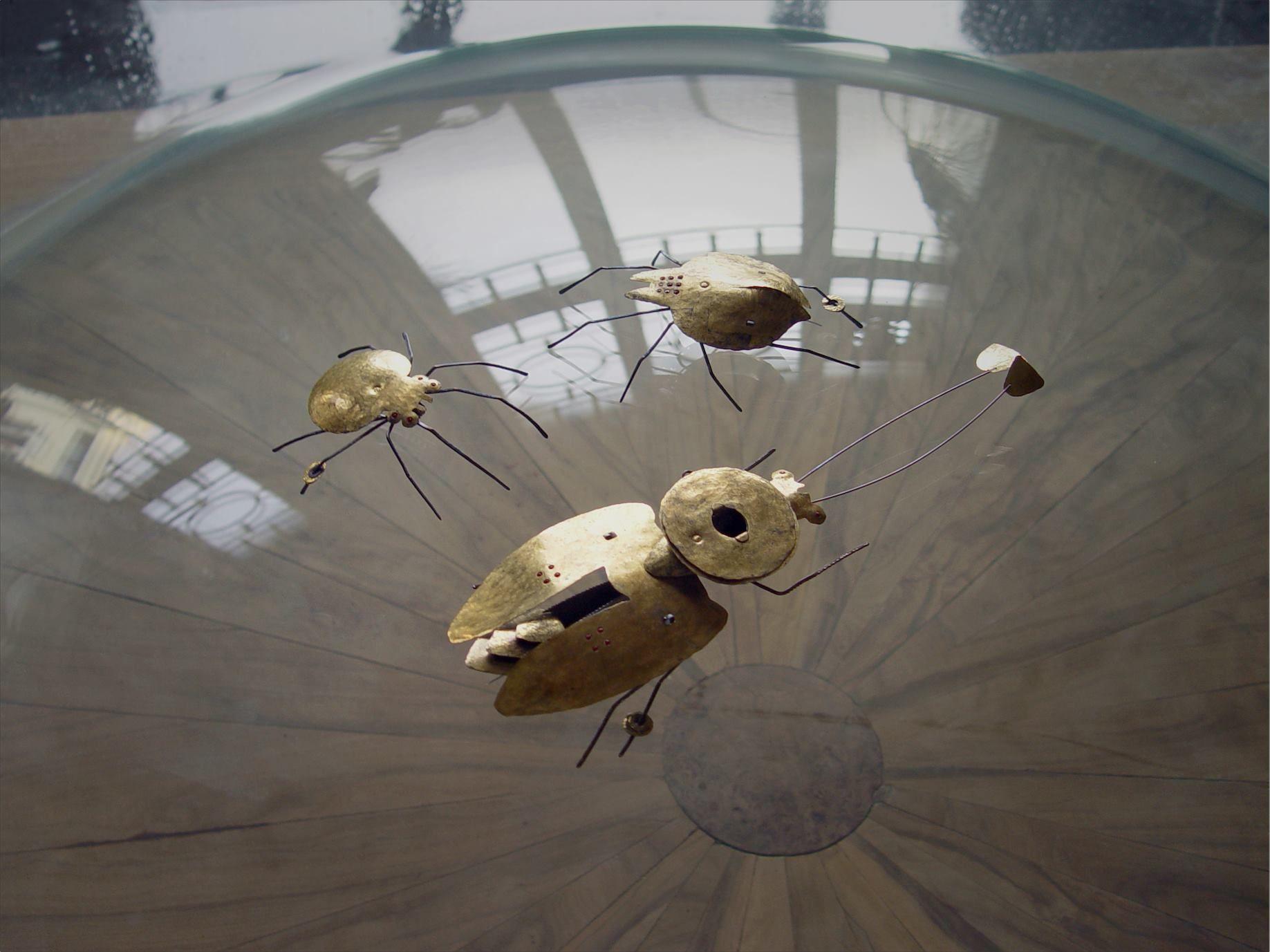 "Jura Golub - Brooches ""Spiders"" ""Bug""- Titanium, Stainless Steel, Gold, Glass Beads (Keum Boo, PUK welding) #titanium #gold #keumboo #juragolub #stainlessteel #handmade #unique"