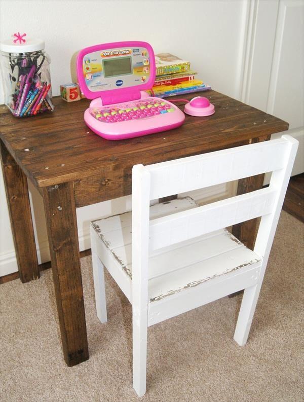 Diy Kids Pallet Table And Chair Diy Kids Furniture Kids Table