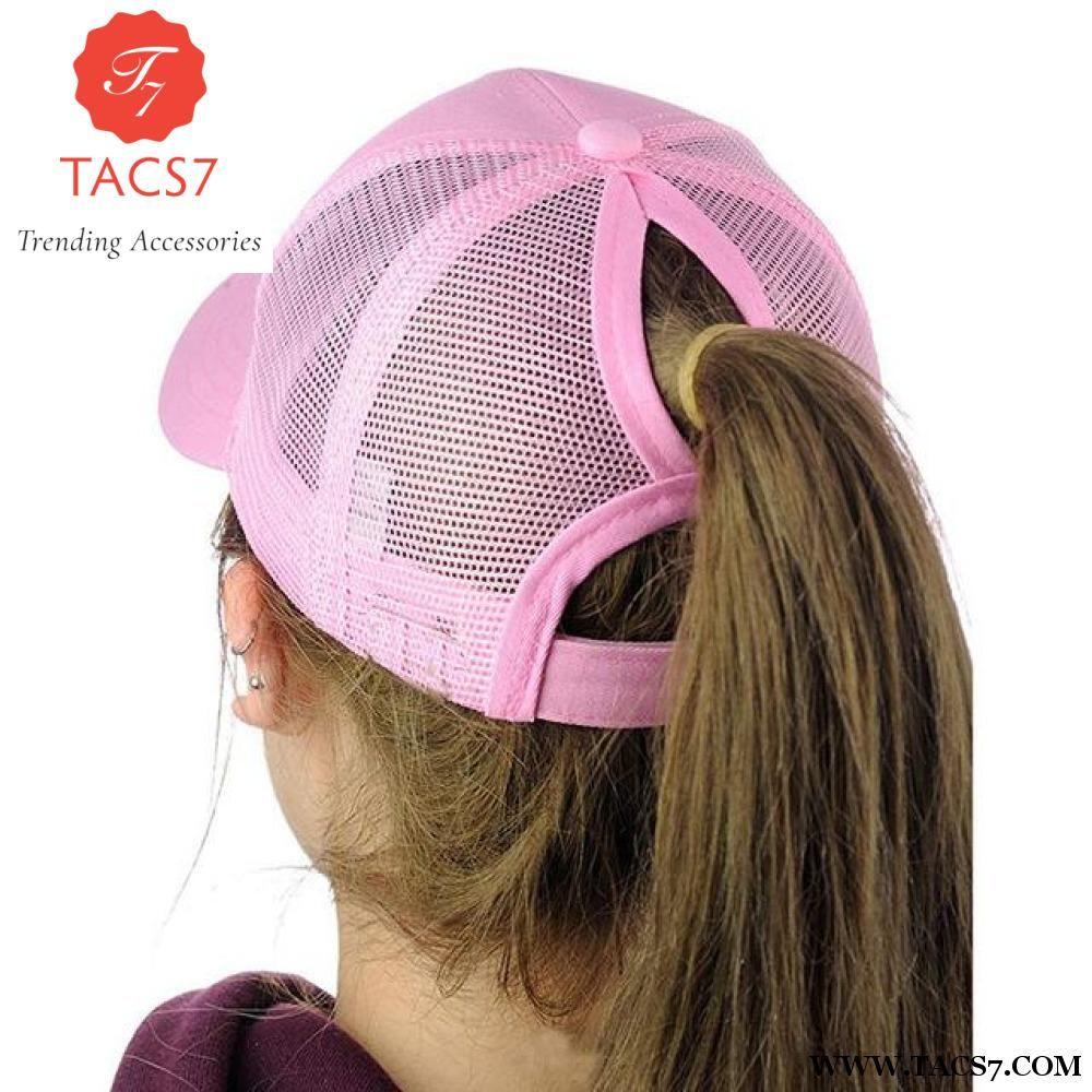 762e3460483 Glitter Ponytail Baseball Snapback Cap Dad Hats for Women Hip Hop Caps  Messy Bun Cotton Sports Mesh Trucker Hat