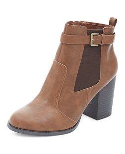 Tan Buckle Side Block Heel Chelsea Boots   New Look   New