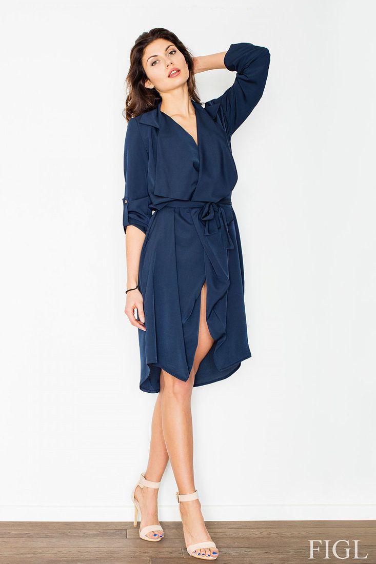 Navy Chiffon Waterfall Long line Cardigan / Dress by Figl ...