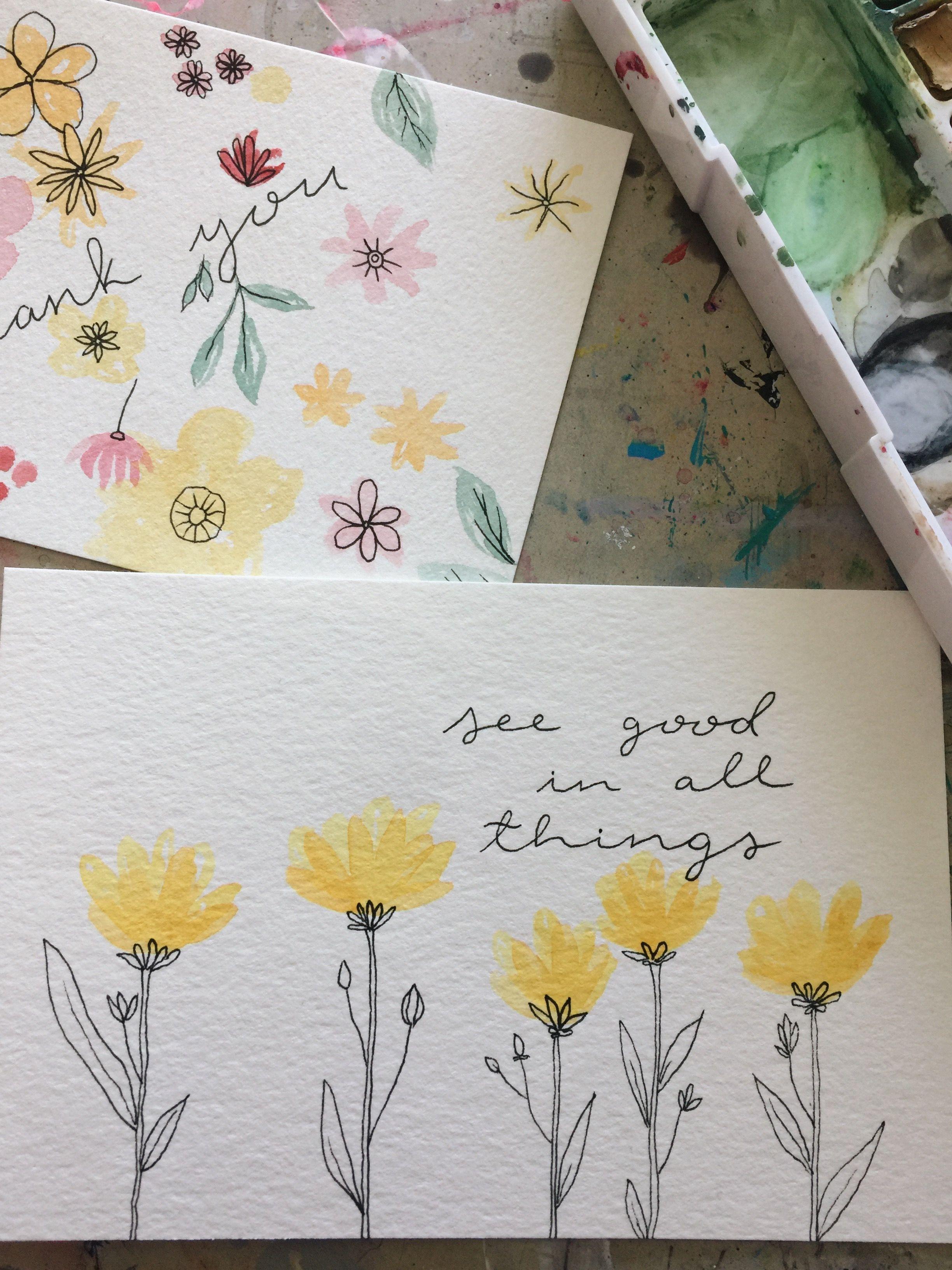 Flower Watercolor Painting  Envelope art, Card art, Watercolor cards