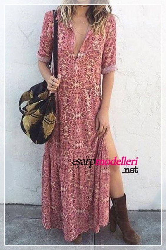Baharlik Gunluk Elbise Modeli Bohem Stili Bohem Modasi Elbise