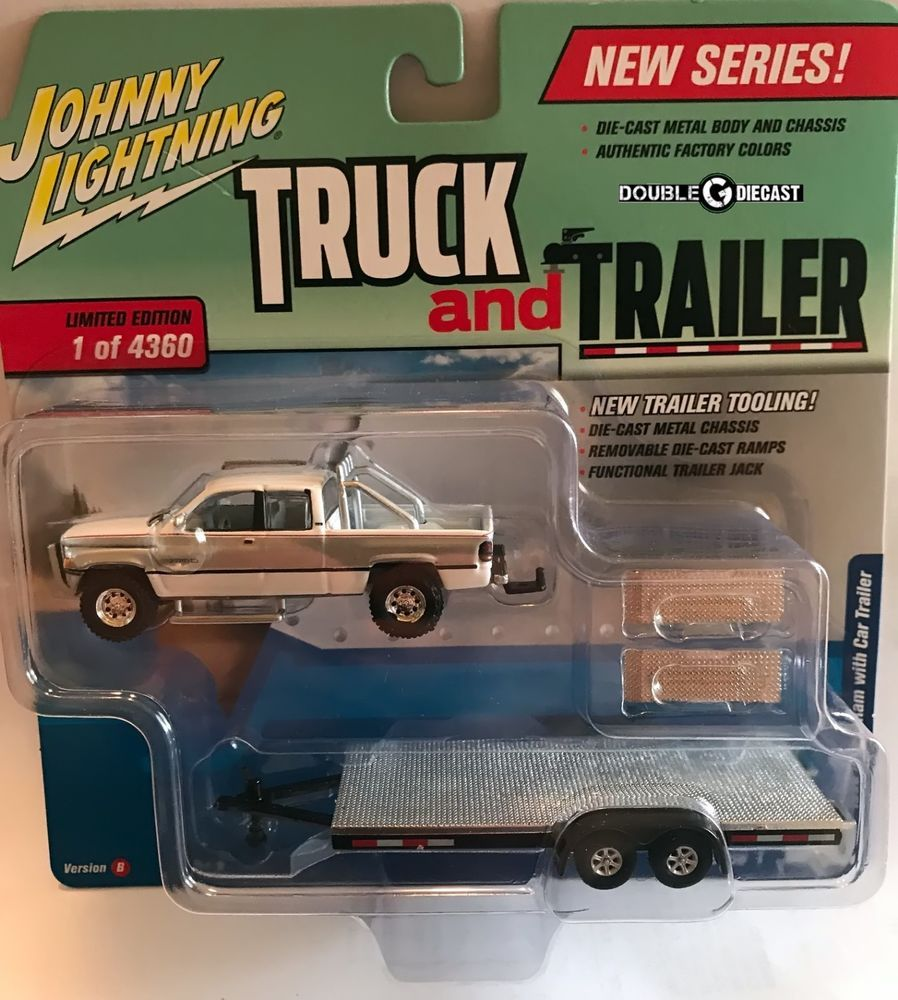 1 64 Johnny Lightning Truck Trailer 2018 Release 1b 1996 Dodge Ram With Car Johnnylightning Dodge Truck And Trailer Farm Toys Trucks