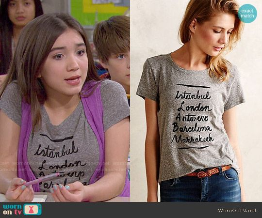 Riley's Istanbul London.. Tee on Girl Meets World. Outfit Details: http://wornontv.net/50382/ #GirlMeetsWorld