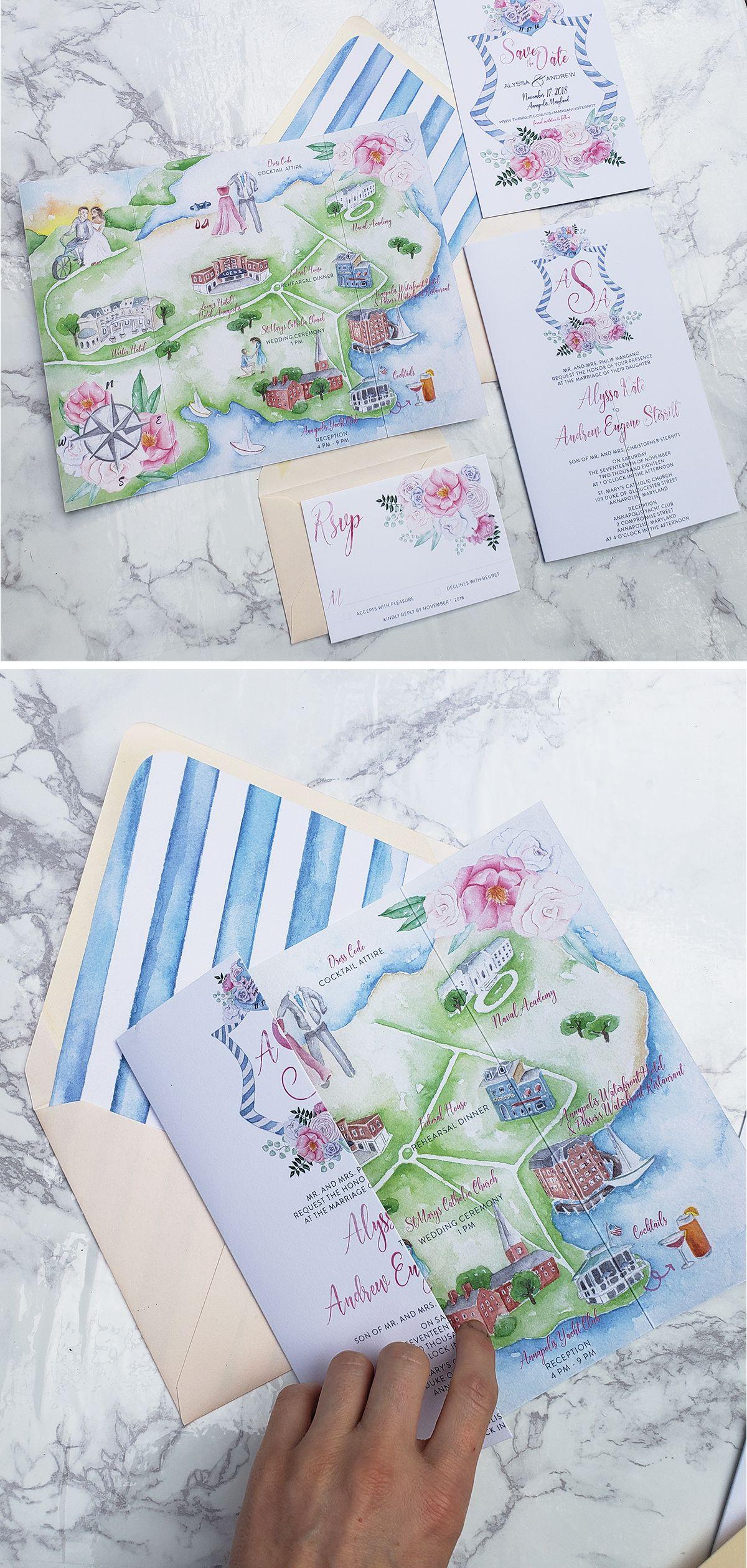 Gatefold Map Wedding Invitation Map Wedding Invitation