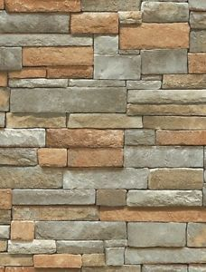 Stacked Stone Wallpaper Textured Grey Tan Brick Wallpaper