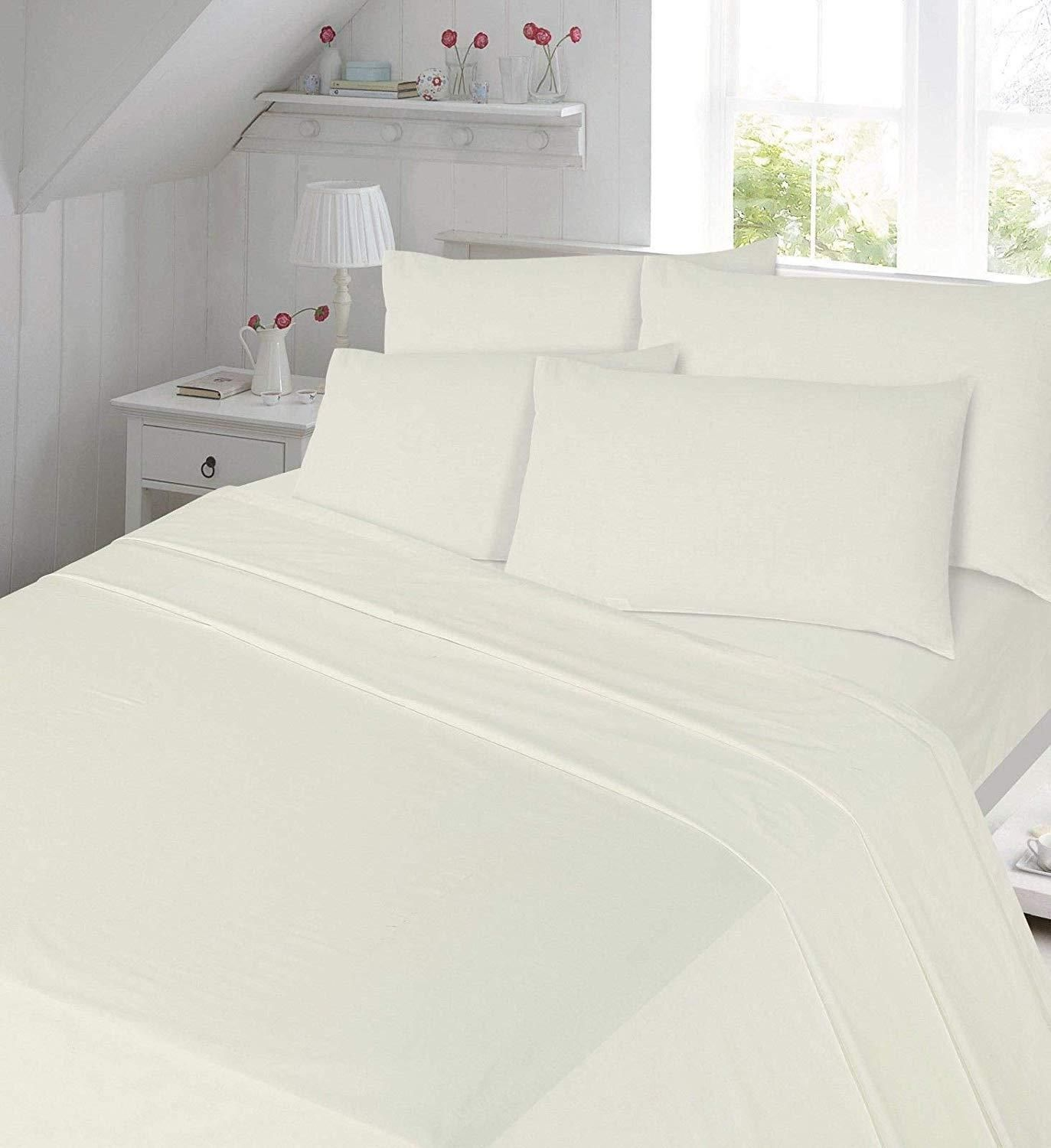 FLANNELETTE FITTED FLAT BED SHEET SET 100/% BRUSHED COTTON THERMAL PILLOW CASES