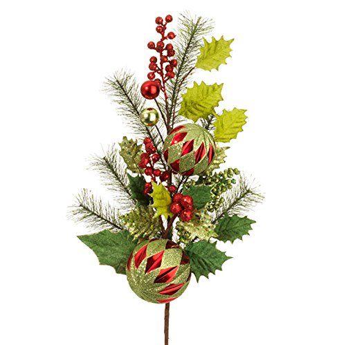 RAZ Imports  Christmas Holly Christmas Ornament Ball Spray