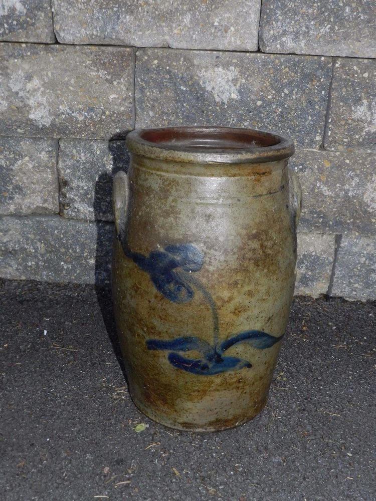 ANTIQUE SALT GLAZED COBALT DECORATED TULIP CROCK BUTTER CHURN STONEWARE LEAF & Antique salt glazed cobalt decorated tulip crock butter churn ...