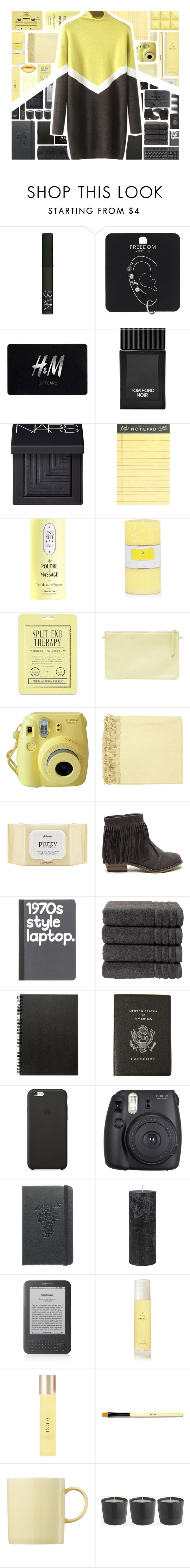 """""""yellow & grey"""" by xgracieeee ❤ liked on Polyvore featuring NARS Cosmetics, Topshop, H&M, Tom Ford, Sephora Collection, J.Crew, CASSETTE, Love 21, Surya and philosophy"""