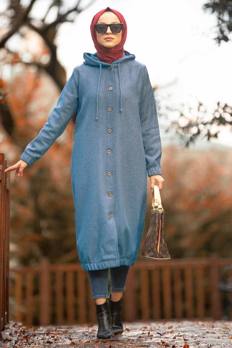Neva Style - Kapşonlu İndigo Mavisi Tesettür Kap 5403IM