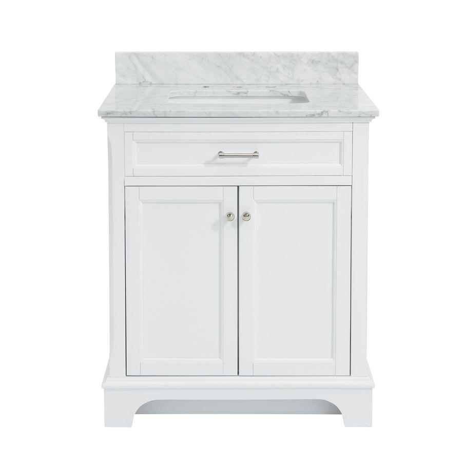 Allen roth roveland white 30 in undermount single sink birch poplar bathroom vanity with natural marble top