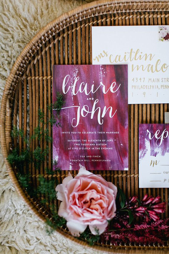 Bohemian wedding invitations Emily Wren Photography