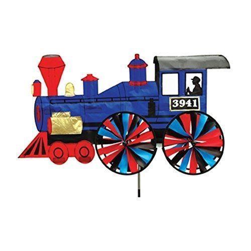 Blue Train Steam Engine Wind Spinner Windspinner Whirligig   Weatherproof  Yard #PremierDesigns