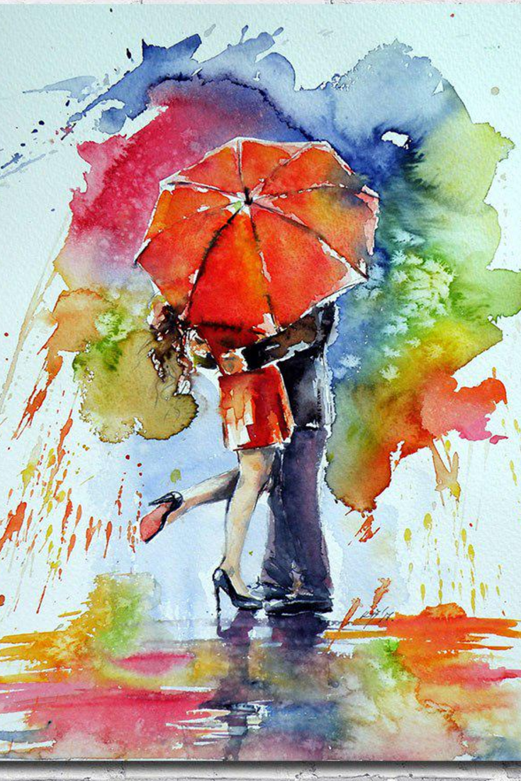 36af17946 ... Print Poster Picture Wall Art Painting Watercolor - No Frame. Loving  couple in the rain. Romantic and colorful. #Rain #Romantic #Umbrella