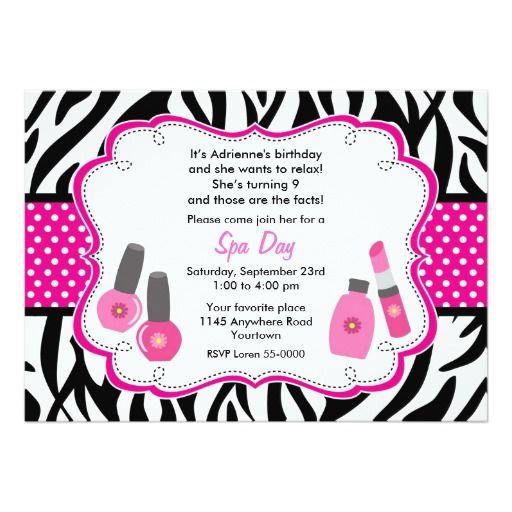Zebra and Hot Pink Spa Day Birthday Invitation – Zebra Party Invitations